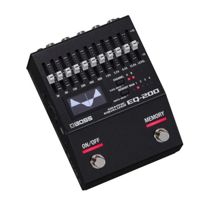 Top angled view of a Boss EQ-200 Graphic EQ Pedal