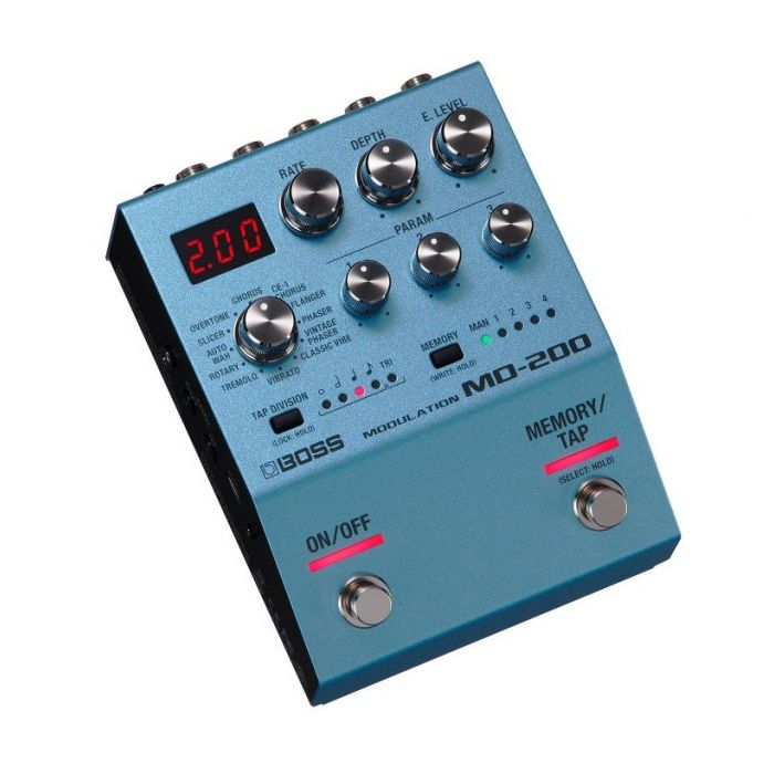 Top angled view of a Boss MD-200 Modulation Pedal