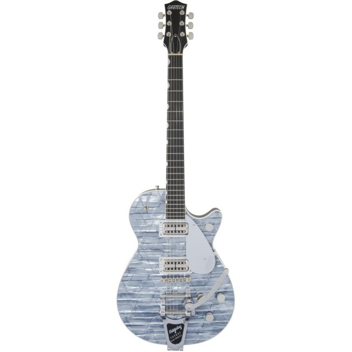 Full frontal view of a Gretsch G6129T Ltd Edition Players Edition Jet Light Blue Pearl
