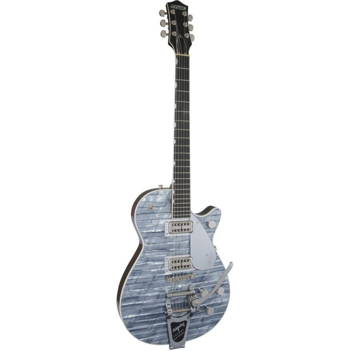 Front tilted view of a Gretsch G6129T Ltd Edition Players Edition Jet Light Blue Pearl