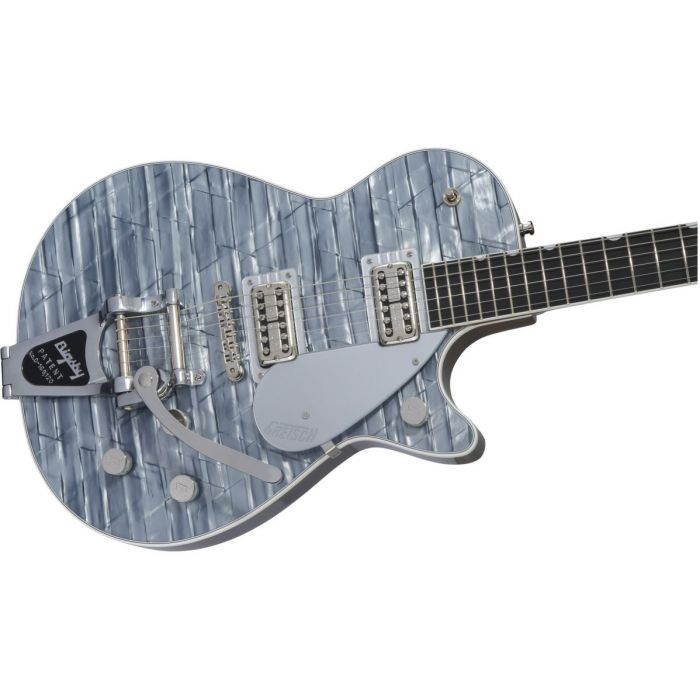 Front closeup view of a Gretsch G6129T Ltd Edition Players Edition Jet Light Blue Pearl