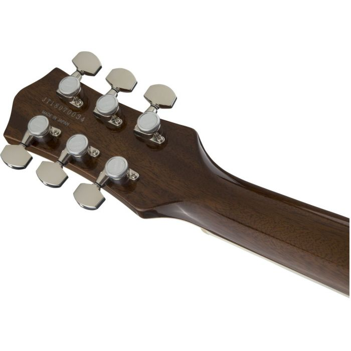 Rear view of the headstock on a Gretsch G6129T Ltd Edition Players Edition Jet Light Blue Pearl