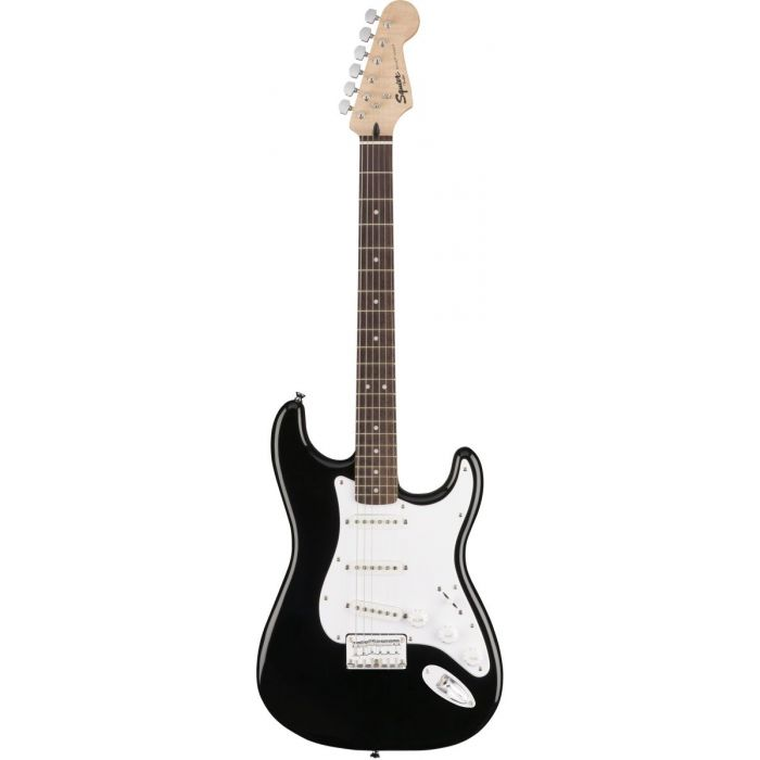 Full frontal view of a Squier Bullet Stratocaster HT IL Black Electric Guitar