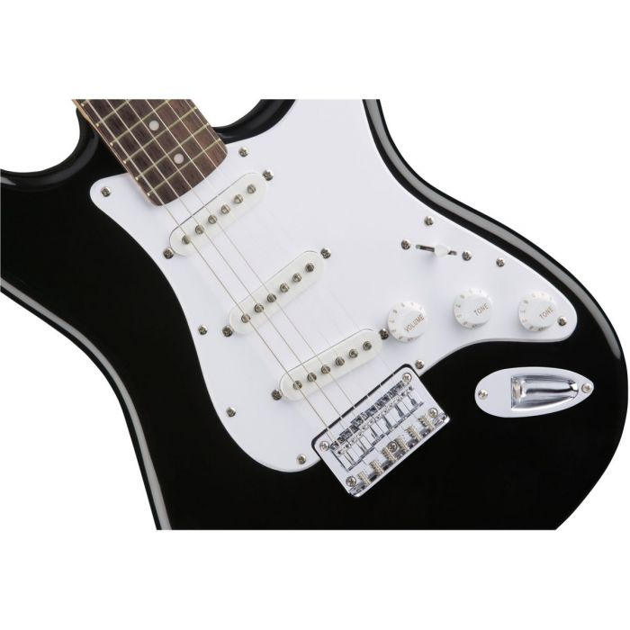 Closeup of the pickups on a Squier Bullet Stratocaster HT IL Black Electric Guitar