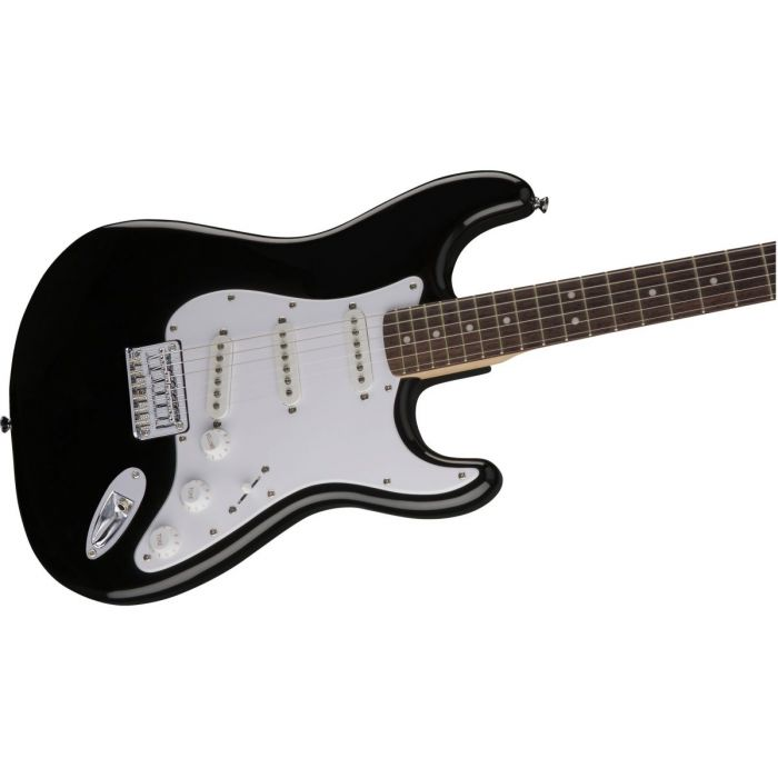 Closeup front view of a Squier Bullet Stratocaster HT IL Black Electric Guitar