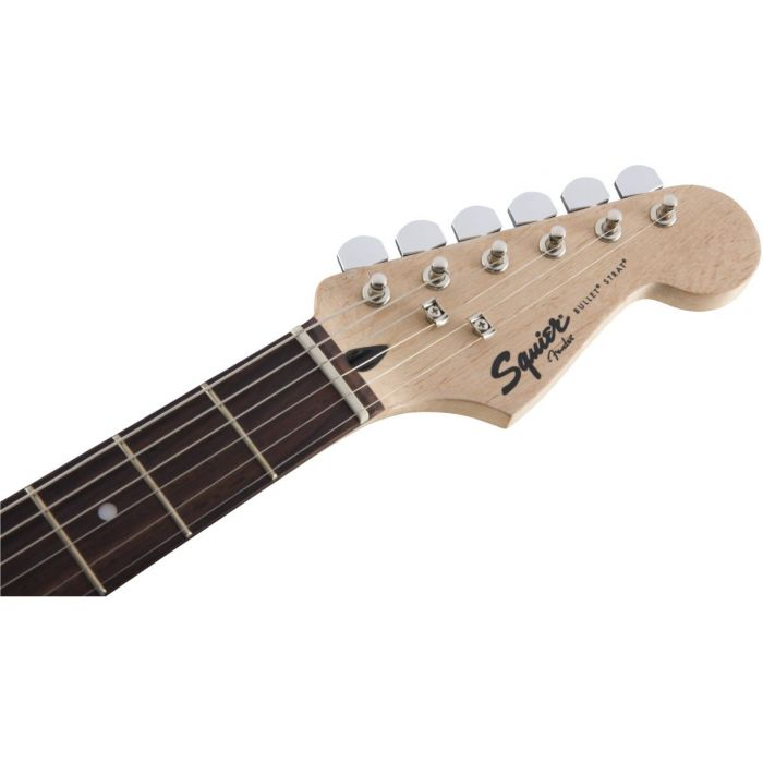 Front view of the headstock on a Squier Bullet Stratocaster HT IL Black Electric Guitar