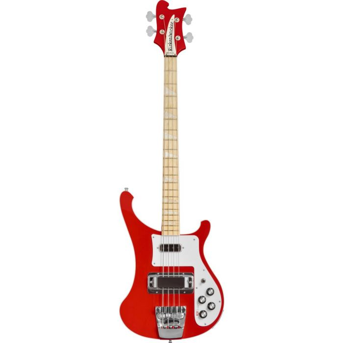 Full frontal view of a Rickenbacker Ltd Edition 4003 Pillarbox Red Electric Bass