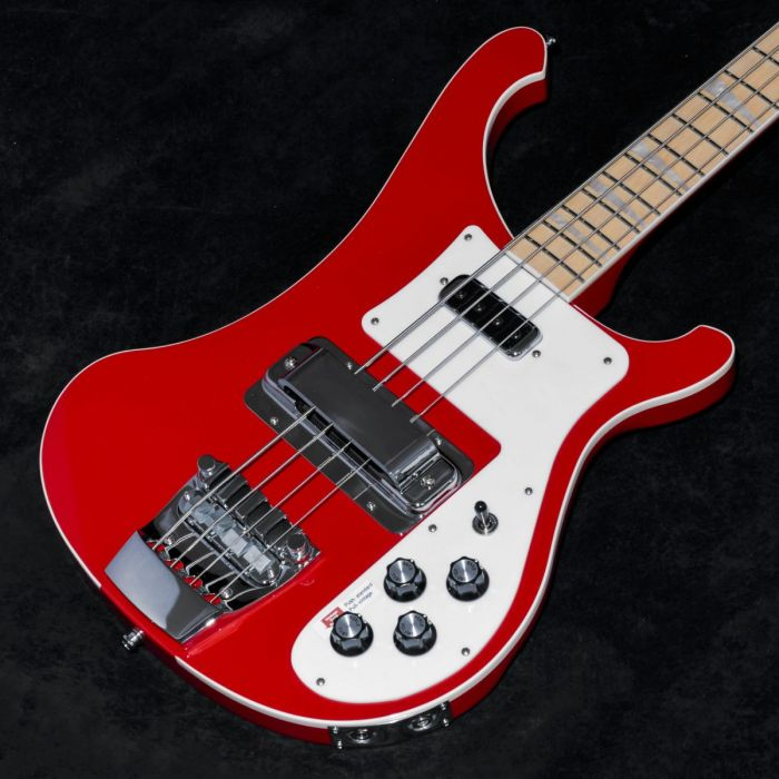 Closeup front angled view of a Rickenbacker Ltd Edition 4003 Pillarbox Red Electric Bass