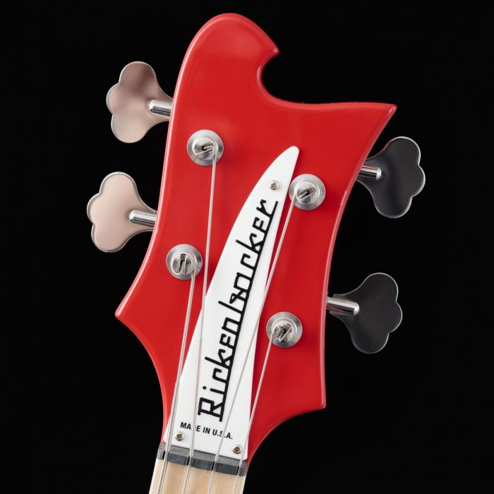 Closeup Headstock view of the headstock on a Rickenbacker Ltd Edition 4003 Pillarbox Red Electric Bass