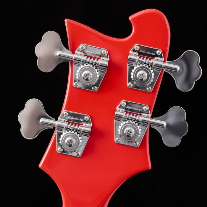 Closeup rear view of the headstock on a Rickenbacker Ltd Edition 4003 Pillarbox Red Electric Bass