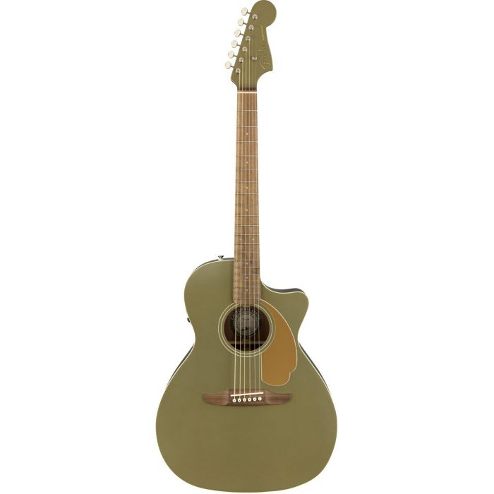 Full front view of a Fender Newporter Player Walnut FB Olive Satin Acoustic Guitar