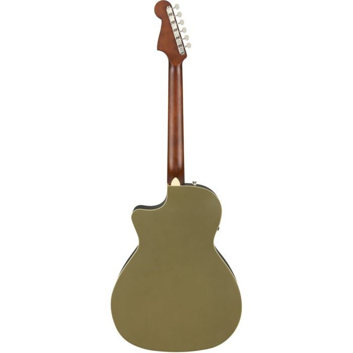 Full rear view of a Fender Newporter Player Walnut FB Olive Satin Acoustic Guitar