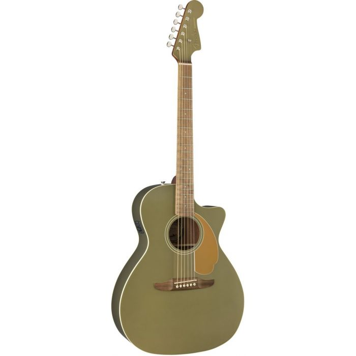 Front tilted view of a Fender Newporter Player Walnut FB Olive Satin Acoustic Guitar