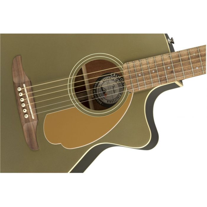 Closeup of the soundhole on a Fender Newporter Player Walnut FB Olive Satin Acoustic Guitar