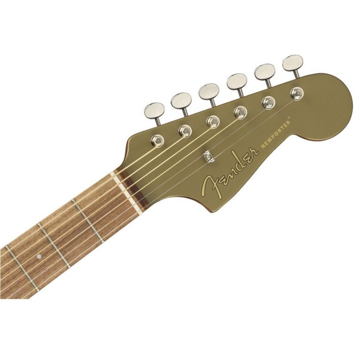 Front view of the headstock on a Fender Newporter Player Walnut FB Olive Satin Acoustic Guitar