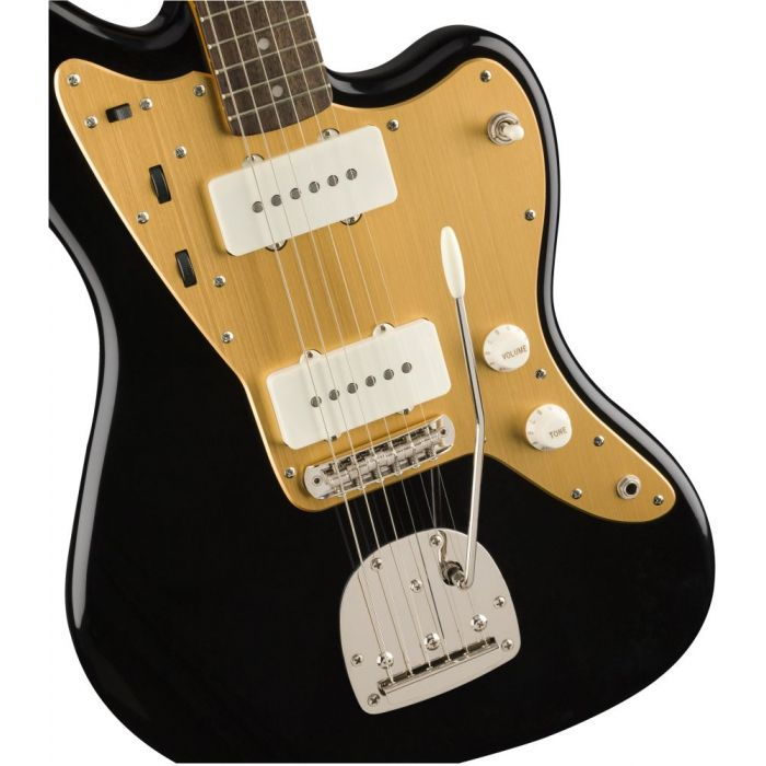 Closeup of the pickups on a Squier FSR Classic Vibe 60s Jazzmaster Black