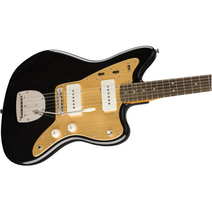 Closeup front view of a Squier FSR Classic Vibe 60s Jazzmaster Black