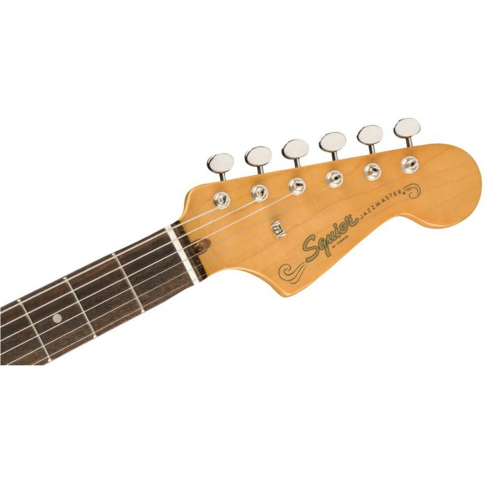 Front view of the headstock on a Squier FSR Classic Vibe 60s Jazzmaster Black