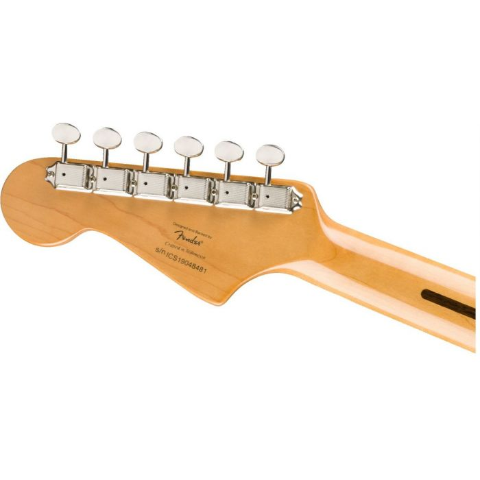 Rear view of the headstock on a Squier FSR Classic Vibe 60s Jazzmaster Black