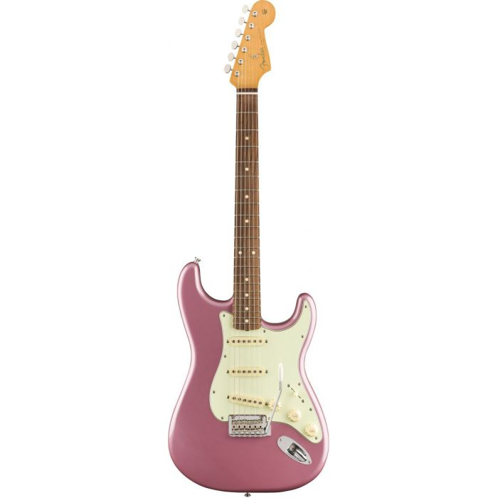 Full frontal view of a Fender Vintera 60s Stratocaster Modified PF Burgundy Mist Metallic