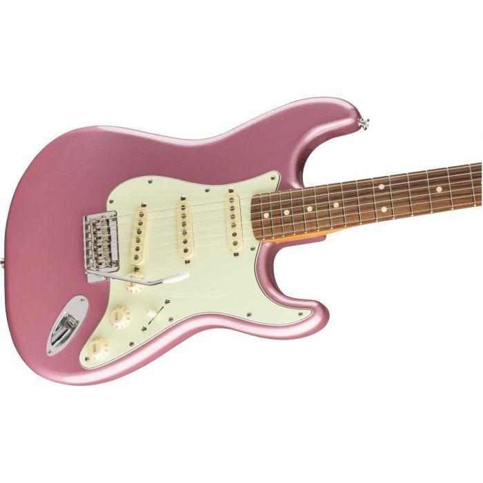 Closeup front view of a Fender Vintera 60s Stratocaster Modified PF Burgundy Mist Metallic
