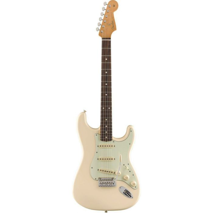 Full frontal view of a Fender Vintera 60s Stratocaster Modified PF Olympic White
