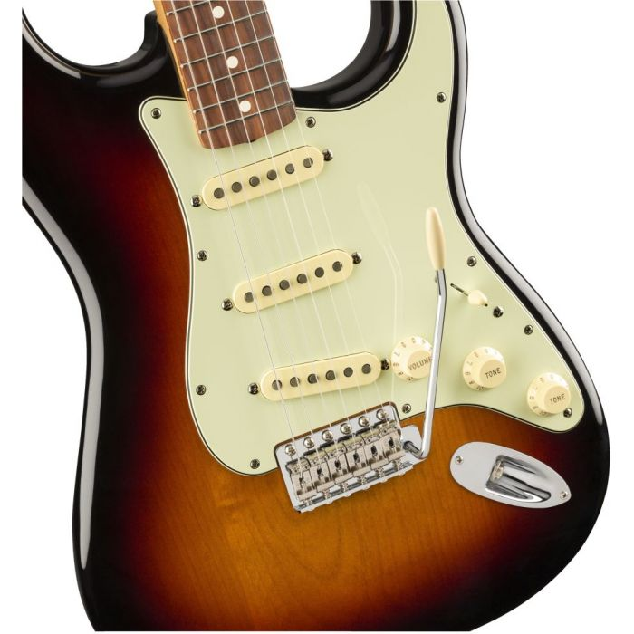 Closeup front view of a Fender Vintera 60S Stratocaster PF 3 Tone Sunburst