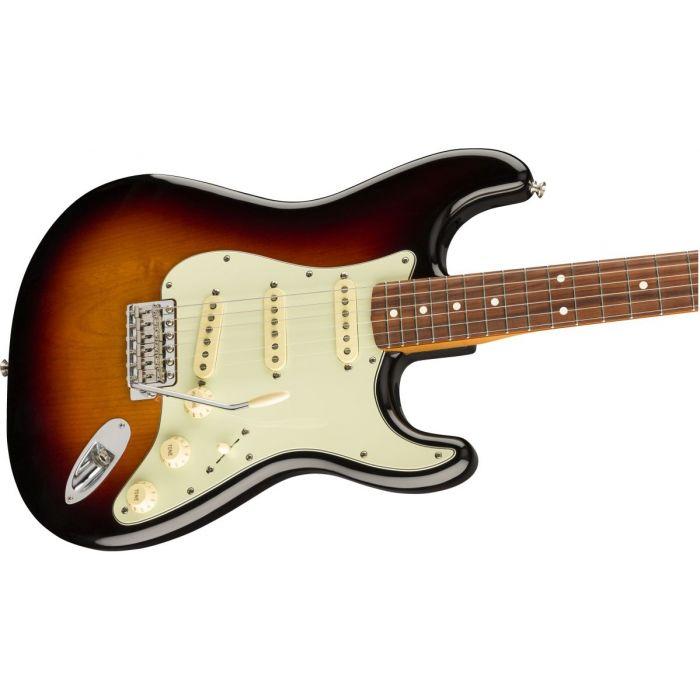 Closeup, front-angled view of a Fender Vintera 60S Stratocaster PF 3 Tone Sunburst