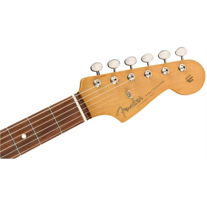 Front view of the headstock on a Fender Vintera 60S Stratocaster PF 3 Tone Sunburst