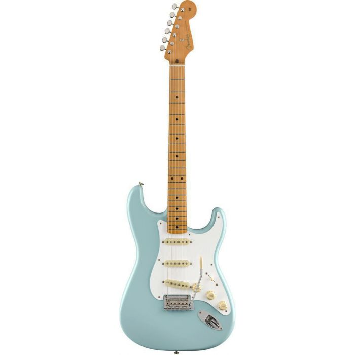 Front view of a Fender Vintera 50s Stratocaster Modified MN Daphne Blue