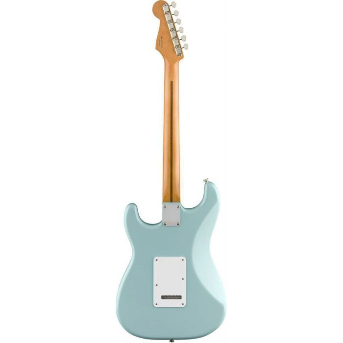 Rear view of a Fender Vintera 50s Stratocaster Modified MN Daphne Blue