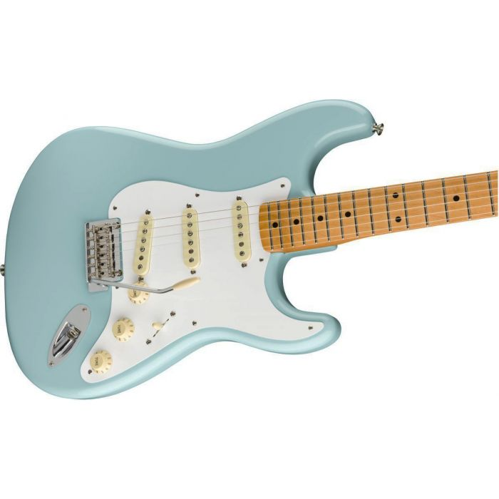 Front angled view of a Fender Vintera 50s Stratocaster Modified MN Daphne Blue