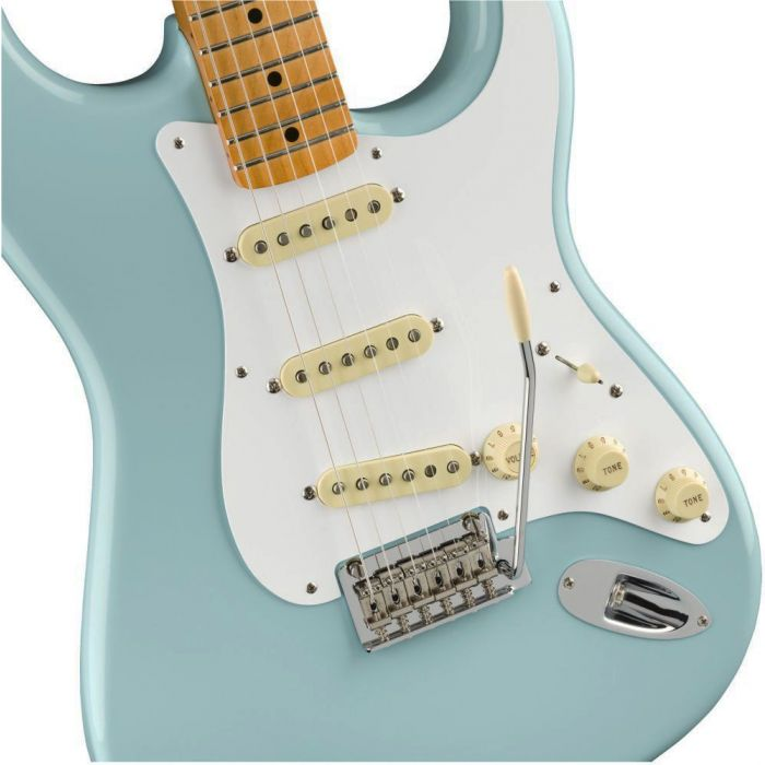 Front closeup view of a Fender Vintera 50s Stratocaster Modified MN Daphne Blue