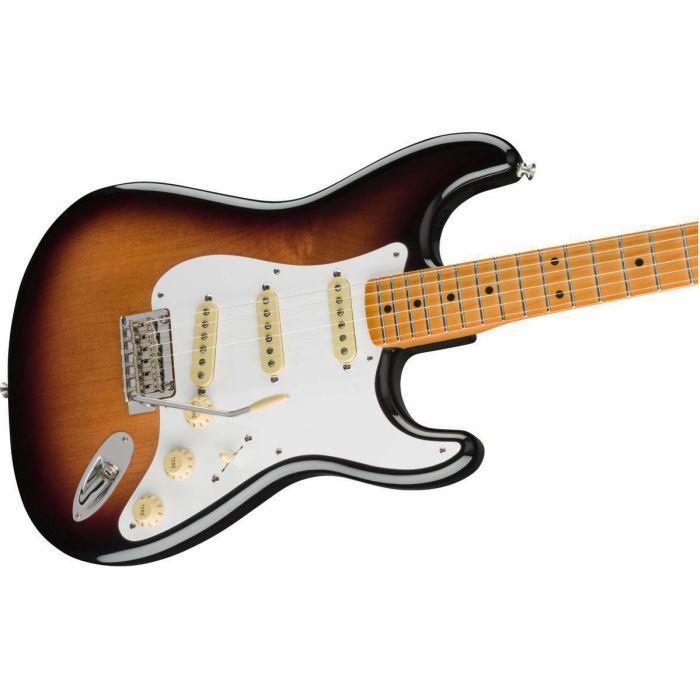 Front angled view of a Fender Vintera 50s Stratocaster Modified MN 2 Tone Sunburst