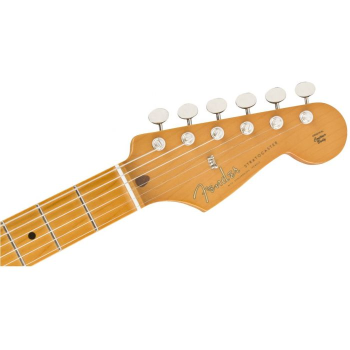 Front view of the headstock on a Fender Vintera 50s Stratocaster Modified MN 2 Tone Sunburst