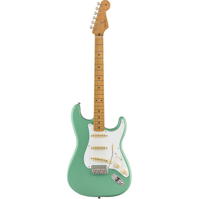 Full frontal view of a Fender Vintera 50s Stratocaster MN Sea Foam Green