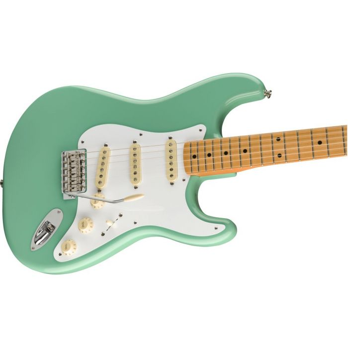 Front angled view of a Fender Vintera 50s Stratocaster MN Sea Foam Green