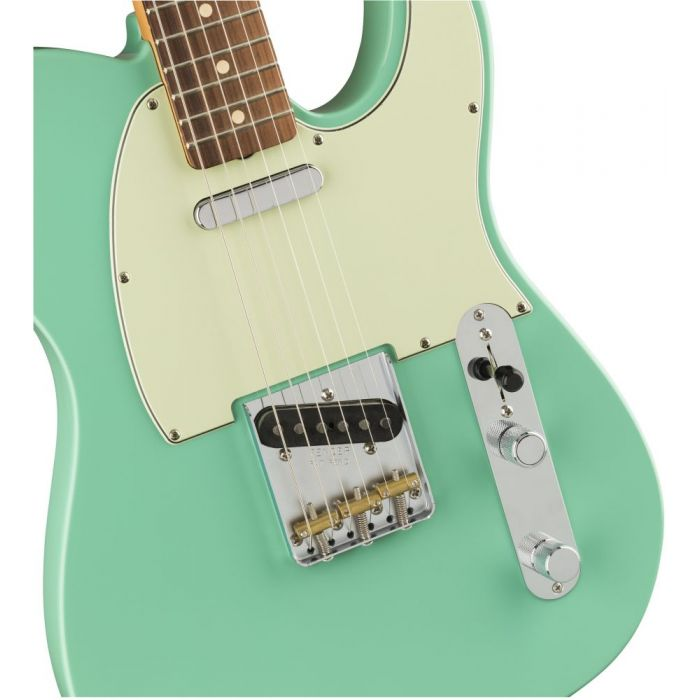 Closeup front view of the Fender Vintera 60s Telecaster Modified PF Sea Foam Green