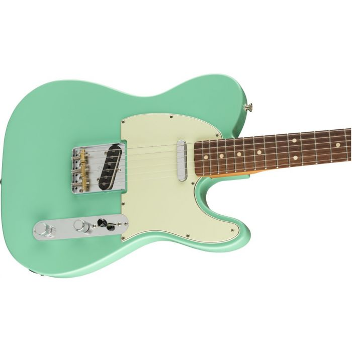 Front angled view of a Fender Vintera 60s Telecaster Modified PF Sea Foam Green