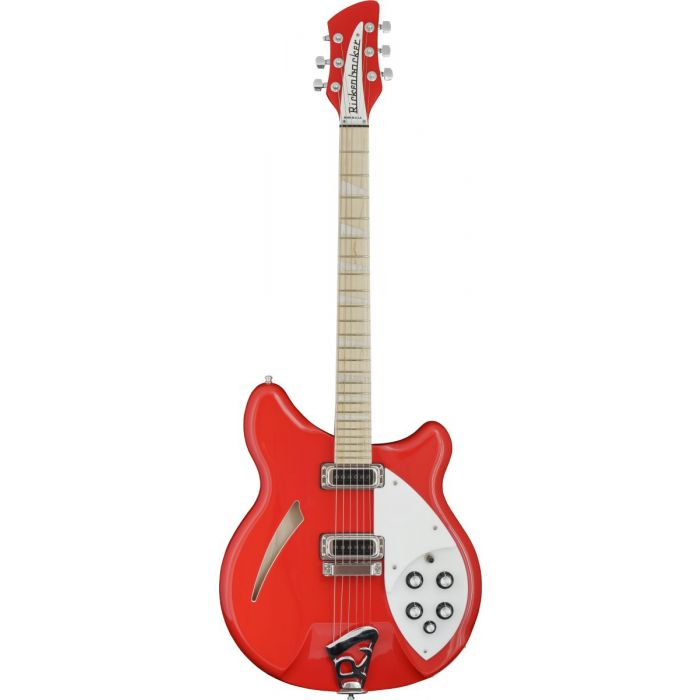Full frontal view of a Rickenbacker Ltd Edition 360 Pillarbox Red Electric Guitar