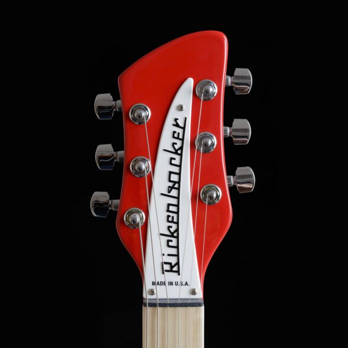 Front view of the headstock on a Rickenbacker Ltd Edition 360 Pillarbox Red Electric Guitar