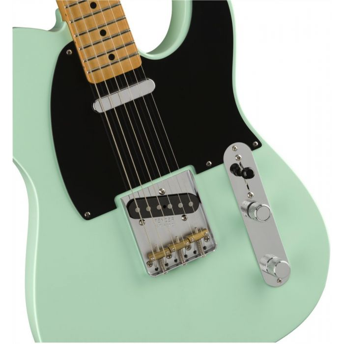 Closeup frontal view of a Fender Vintera 50s Telecaster Modified MN Surf Green