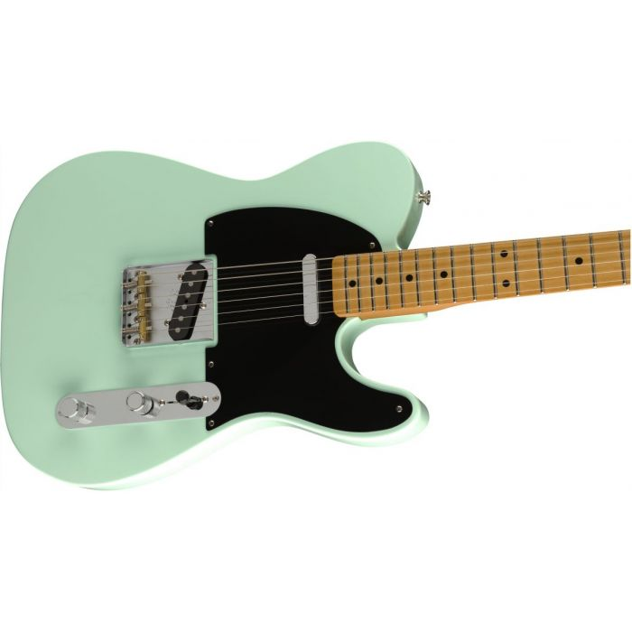 Front angled view of a Fender Vintera 50s Telecaster Modified MN Surf Green
