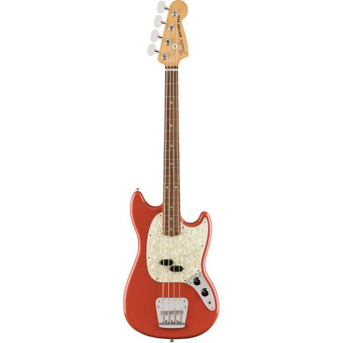 Full frontal view of a Fender Vintera 60s Mustang Bass PF Fiesta Red