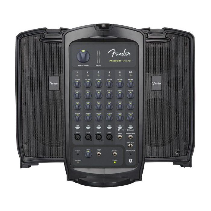 Full open view of a Fender Passport Event Portable PA System