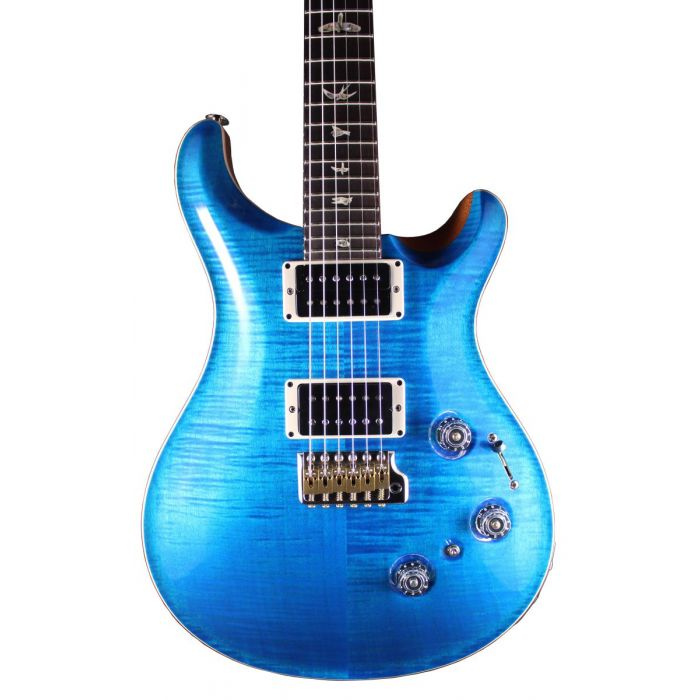 Closeup frontal view of a PRS Custom 24 Piezo Aquamarine RW Electric Guitar