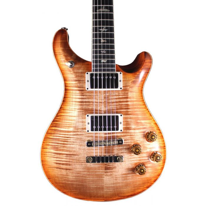 Closeup front view of a PRS Ltd Edition McCarty 594 Autumn Sky Edge guitar