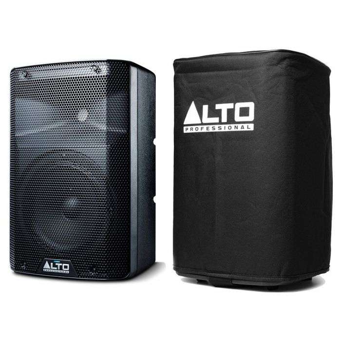 Alto TX208 Active Speaker and Cover Side by Side