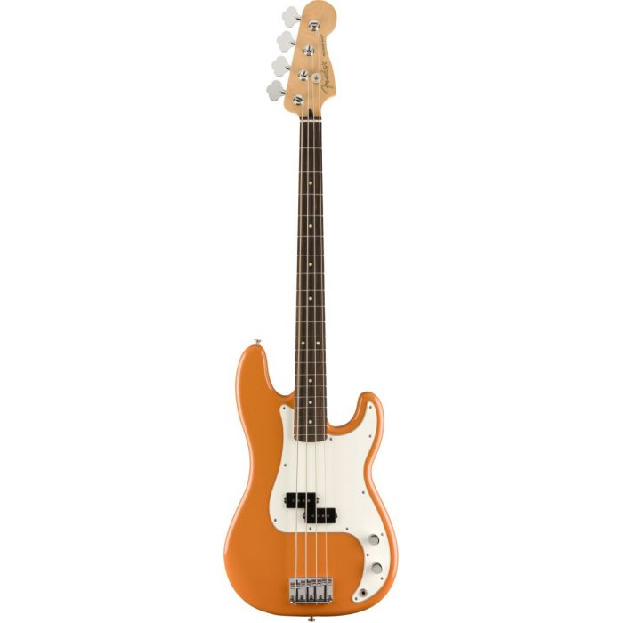 Full frontal view of a Fender Player Precision Bass PF Capri Orange