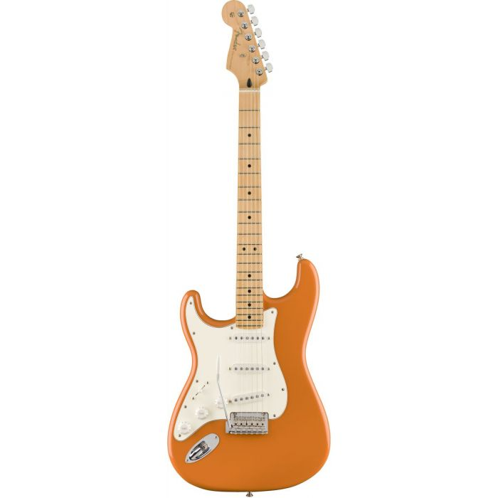 Full frontal view of a Fender Player Stratocaster LH MN Capri Orange Electric Guitar